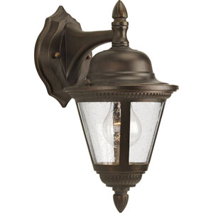 Westport Antique Bronze 12.75-Inch One-Light Outdoor Wall Sconce with Clear Seeded Glass