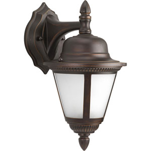 Westport Antique Bronze Compact Fluorescent One-Light Outdoor Wall Sconce with Etched Seeded Glass