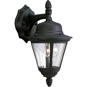 Westport Textured Black One-Light Outdoor Wall Sconce with Clear Seeded Glass