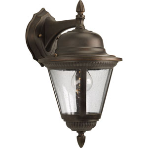 Westport Antique Bronze One-Light Outdoor Wall Sconce with Clear Seeded Glass