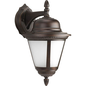 Westport Antique Bronze One-Light Outdoor Wall Lantern with Etched Seeded Glass