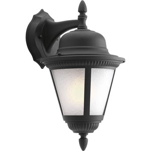 Westport Black One-Light Outdoor Wall Lantern with Etched Seeded Glass
