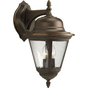 Westport Antique Bronze Two-Light Outdoor Wall Lantern with Clear Seeded Glass