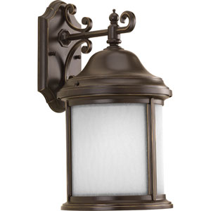 Ashmore Antique Bronze 17-Inch One-Light Outdoor Wall Lantern with Etched, Water Seeded Glass Curved Panels