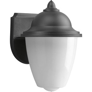 Non-Metallic Black One-Light Outdoor Wall Sconce with White Acrylic Globe