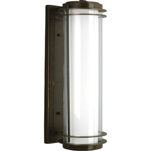 Penfield Oil Rubbed Bronze 24-Inch Two-Light Outdoor Wall Lantern with Clear and White Opal Glass Cylinder