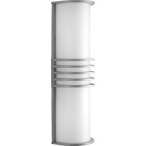 Parker Satin Aluminum Two-Light Outdoor Wall Lantern with White Acrylic Diffuser