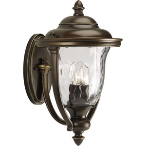 Prestwick Oil Rubbed Bronze Three-Light Outdoor Wall Lantern with Clear optic Glass