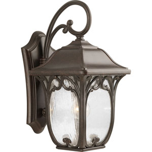 Enchant Espresso 19.25-Inch One-Light Outdoor Wall Lantern with Clear Seeded Glass Panels