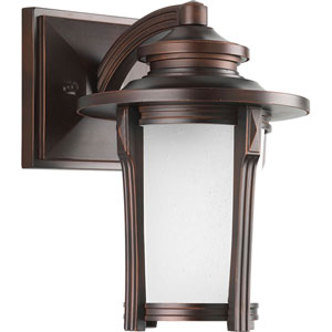 Pedigree Autumn Haze One-Light Outdoor Wall Sconce with Etched Seeded Glass Cylinder