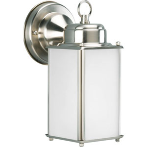 Roman Coach Brushed Nickel One-Light Outdoor Wall Sconce with Etched Glass Panels