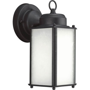 Roman Coach Black One-Light Outdoor Wall Sconce with Etched Glass