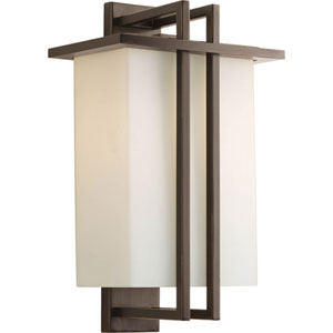 Dibs Outdoor Antique Bronze 10-Inch One-Light Outdoor Wall Lantern with Opal Etched Glass Shade