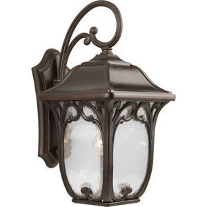 Enchant Espresso One-Light Outdoor Wall Lantern with Clear Seeded Glass Panels