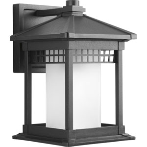 Merit Black 12.25-Inch One-Light Outdoor Wall Lantern with Etched Glass Cylinder