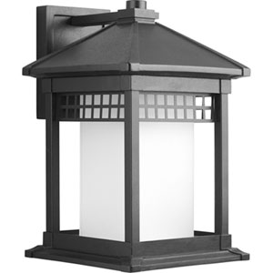 Merit Black 15.75-Inch One-Light Outdoor Wall Lantern with Etched Glass Cylinder
