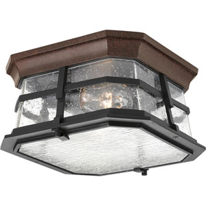 Derby Espresso Two-Light Outdoor Flush Mount with Clear Seeded Glass Diffuser