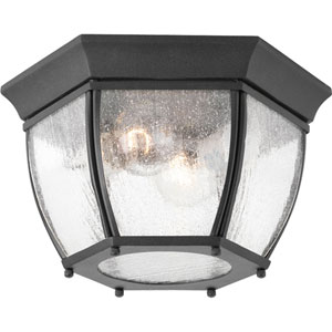 Roman Coach Black Two-Light Outdoor Flush Mount