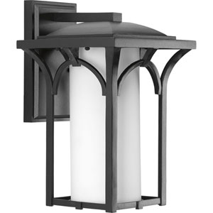 Promenade Black One-Light 8.5-Inch Wide Fluorescent Outdoor Wall Sconce