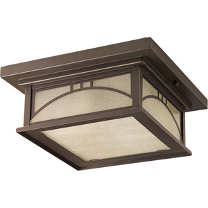 P6055-20 Residence 12-Inch Antique Bronze Two-Light Outdoor Flush Mount