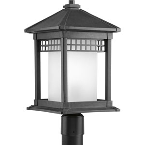 Merit Black One-Light Outdoor Post Lantern with Etched Glass Cylinder