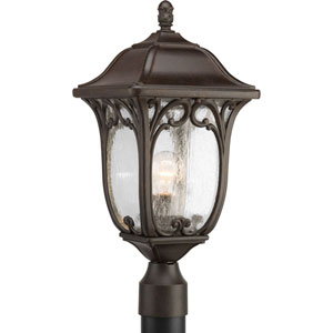 Enchant Espresso One-Light Outdoor Post Lantern with Clear Seeded Glass Panels