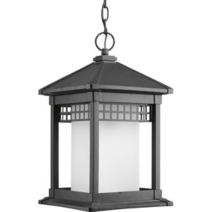 Merit Black One-Light Outdoor Pendant with Etched Glass Cylinder