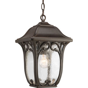 Enchant Espresso One-Light Outdoor Pendant with Etched Glass Panels