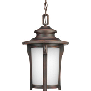 Pedigree Autumn Haze One-Light Outdoor Pendant with Etched Seeded Glass Cylinder