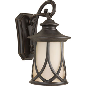 Resort Aged Copper One-Light Outdoor Wall Sconce with Gradual Umber Glass