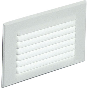 One-Light White Spring-Held Louver Shatter-Resistant Faceplate Step Lights with White Glass