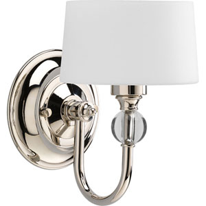 Fortune Polished Nickel One-Light Wall Sconce with Opal Etched Glass Drum Shades