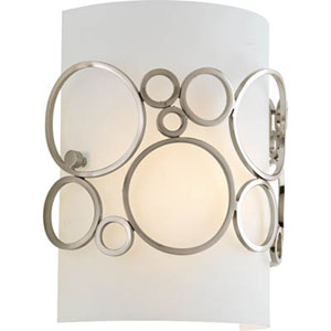 Bingo Brushed Nickel One-Light Wall Sconce with White Acrylic Diffuser