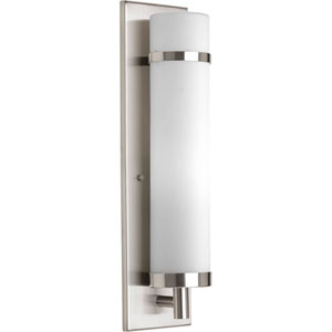 Brushed Nickel 18-Inch One-Light Wall Sconce with Etched opal Glass Cylinder