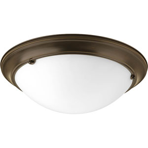 Eclipse Antique Bronze Three-Light 5.5-Inch Flush Mount with Satin White Glass Bowl