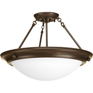 Eclipse Antique Bronze Three-Light 13.25-Inch Semi-Flush Mount with Satin White Glass Bowl