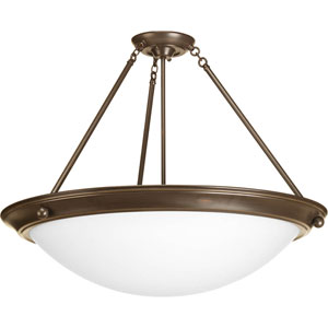 Eclipse Antique Bronze Four-Light 20.5-Inch Semi-Flush Mount with Satin White Glass Bowl