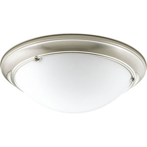 Eclipse Brushed Nickel Three-Light 5.5-Inch Flush Mount with Satin White Glass Bowl