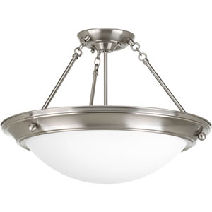 Eclipse Brushed Nickel Three-Light 13.25-Inch Semi-Flush Mount with Satin White Glass Bowl