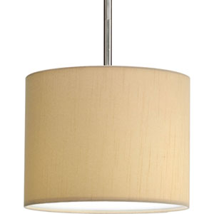 Markor and Choloe Beige Silken Fabric 8-Inch Modular Pendant with 10-Inch Drum Shade