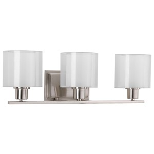 Invite Brushed Nickel Three-Light Vanity Fixture with White Silk Mylar Shade