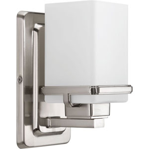 Metric Brushed Nickel One-Light Bath Sconce
