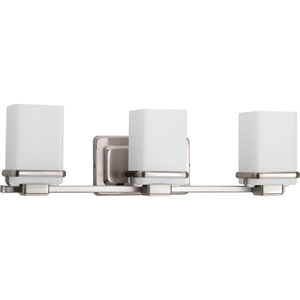 Metric Brushed Nickel Three-Light Bath Sconce