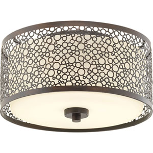 Mingle Antique Bronze LED 11-Inch One-Light Flush Mount with Etched Parchment Shade