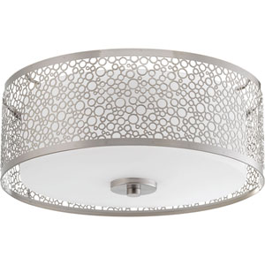 Mingle Brushed Nickel LED 14 x 6-Inch One-Light Flush Mount with Etched Parchment Shade