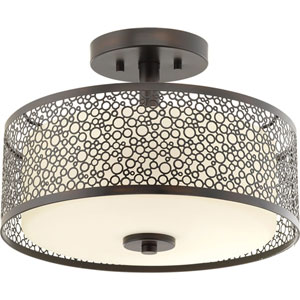 Mingle Antique Bronze LED 14 x 10.5-Inch One-Light Flush Mount with Etched Parchment Shade