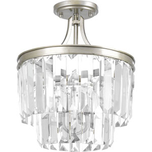 Glimmer Silver Ridge 13-Inch Three-Light Flush Mount