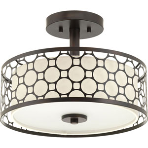 Mingle Antique Bronze LED 14 x 10.5-Inch One-Light Flush Mount with Fabric Shade