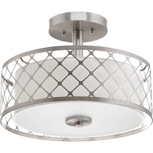 Mingle Brushed Nickel LED 14 x 10.5-Inch One-Light Flush Mount with Fabric Shade