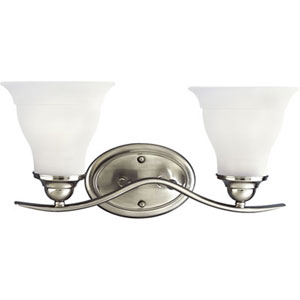 P3191-09EBWB:  Trinity Brushed Nickel Two-Light Energy Star Bath Fixture